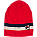 Front view of Fila Stripe Beanie Hat in Red