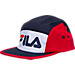 Front view of Fila 5 Panel Camper Snapback Hat in Red/White/Navy