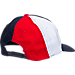 Back view of Women's Fila Curved Brim Snapback Hat in Red/White/Navy