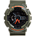 Front view of Casio G-Shock Neon Digital Watch in Green/Neon Orange