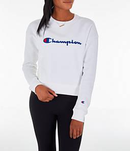 Womens Champion Reverse Weave Chenille Crew Sweatshirt,White