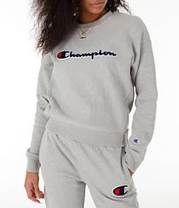 Womens Champion Reverse Weave Chenille Crew Sweatshirt,Oxford Grey