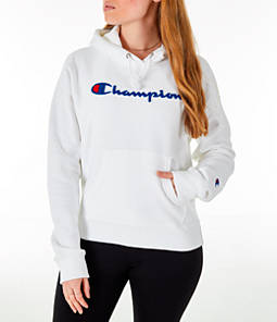 Womens Champion Reverse Weave Chenille Hoodie,White