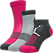 Front view of Kids' Jordan 3-Pack Waterfall Socks in Vivid Pink/Dark Grey