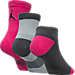 Back view of Kids' Jordan 3-Pack Waterfall Socks in Vivid Pink/Dark Grey