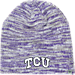 Front view of Top of the World TCU Horned Frogs College Glaze Knit Hat in Team Colors