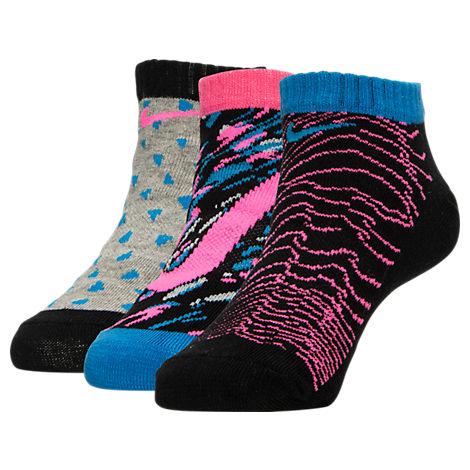 Girls' Nike Graphic 3-Pack No-Show Socks