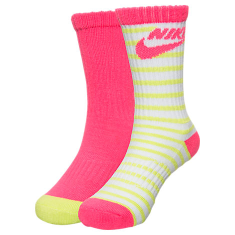 Girls' Nike Striped High 2-Pack Crew Socks