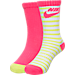 Front view of Girls' Nike Striped High 2-Pack Crew Socks in A96