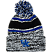 Front view of Women's Zephyr Kentucky Wildcats College Granite Pom Knit Hat in Team Colors