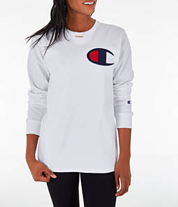 Womens Champion Heritage Long-Sleeve T-Shirt,White