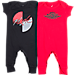 Front view of Infant Jordan Coverall Flight Logo 2-Piece Set in Red/Black