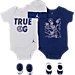 Front view of Infant Jordan True OG Monsters 5-Piece Set in White/Blue