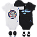 Front view of Infant Air Jordan Retro 11 That's All Folks 5-Piece Set in Black/White/Blue