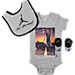 Front view of Infant Jordan MJ Mondays 3-Piece Set in Grey/Black