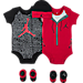 Front view of Infant Jordan Elephant Jumpsuit 5-Piece Set in Red/Black/White
