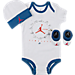 Front view of Infant Jordan Timeless 3-Piece Set in White/Gym Red/True Blue