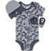 Front view of Infant Jordan AJ Camo 3-Piece Set in Carbon Heather/Anthracite