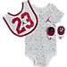 Front view of Infant Jordan Cement Allover Print 3-Piece Set in White/Red/Black
