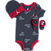 Front view of Infant Jordan Just 4 Kicks 3-Piece Set in Anthracite/Red