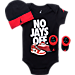 Front view of Infant Jordan No Jays Off 3-Piece Set in Black/Red