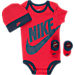 Front view of Infant Nike Futura 3-Piece Set in Gym Red/Obsidian