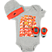 Front view of Infant Nike Block 3-Piece Set in Grey/Orange