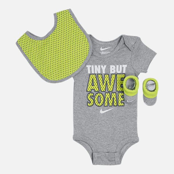 Front view of Infant Nike Tiny But Awesome 3-Piece Set in Grey Heather/Volt