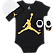 Front view of Infant Jordan Jumpman 3-Piece Set in Black/Gold/White