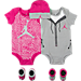 Front view of Girls' Infant Jordan Elephant Jumpsuit 5-Piece Set in Pink/Grey/White