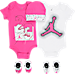 Front view of Girls' Infant Jordan Halftone 23 5-Piece Set in Pink/White