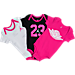 Front view of Infant Jordan 23 Wings 3-Pack Set in White/Pink/Black