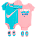 Front view of Infant Nike Crawl Walk Run 5-Piece Set in Pink/Blue