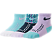 Front view of Girls' Infant Nike Gripper Quarter Socks - 3 Pack in Aqua/Purple/Violet