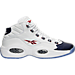 Right view of Men's Reebok Question Mid Basketball Shoes in White/Blue/Red