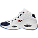 Left view of Men's Reebok Question Mid Basketball Shoes in White/Blue/Red