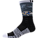 Front view of For Bare Feet Baltimore Ravens NFL Blackout Socks in Charcoal