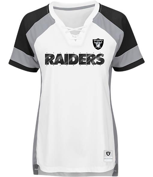 Women's Majestic Oakland Raiders NFL Draft Me Lace T-Shirt