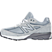 Left view of Boys' Grade School New Balance 990 V4 Running Shoes in Grey/Grey