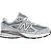 Right view of Boys' Preschool New Balance 990 V4 Running Shoes in Grey/Grey
