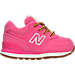 Right view of Girls' Toddler New Balance 574 Outdoor Boots in Pink/White/Gum