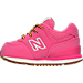 Left view of Girls' Toddler New Balance 574 Outdoor Boots in Pink/White/Gum