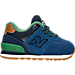 Right view of Boys' Toddler New Balance 574 Casual Shoes in Blue/Green Leather
