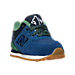 Three Quarter view of Boys' Toddler New Balance 574 Casual Shoes in Blue/Green Leather
