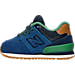 Left view of Boys' Toddler New Balance 574 Casual Shoes in Blue/Green Leather
