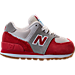 Right view of Boys' Toddler New Balance 574 Casual Shoes in Red/White