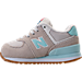 Left view of Girls' Toddler New Balance 574 Casual Shoes in Teal/White
