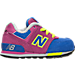 Right view of Girls' Toddler New Balance 574 Casual Shoes in Pink/Blue