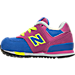 Left view of Girls' Toddler New Balance 574 Casual Shoes in Pink/Blue