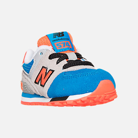 Three Quarter view of Boys' Toddler New Balance 574 Casual Shoes in Grey/Blue